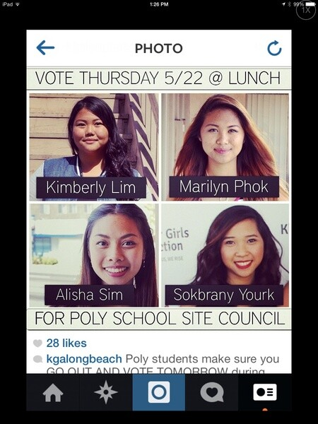 KGA student election reminder sent via Instagram