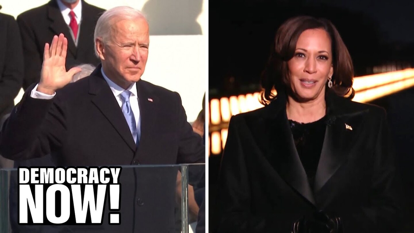 Split image featuring President Biden being sworn in at inauguration and Vice President Kamala Harris.
