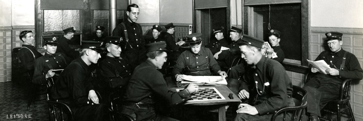 Firefighters playing checkers