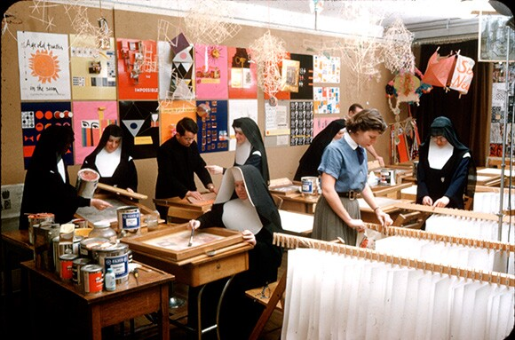 Immaculate Heart College Silkscreen Room. | Courtesy of the Corita Art Center, Los Angeles.