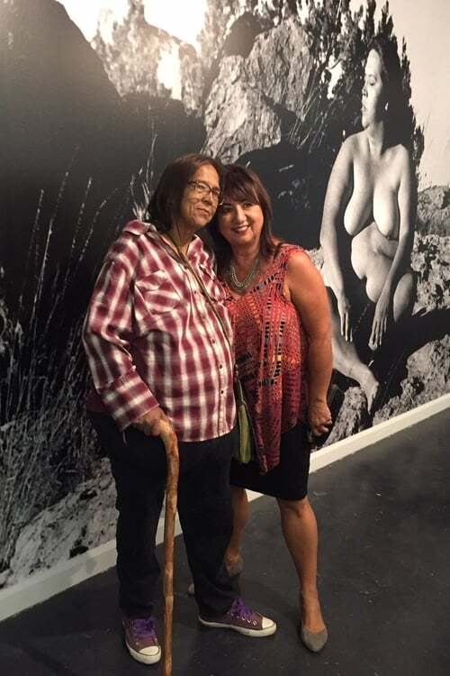 """Laura Aguilar with Sybil Venegas at the the artist's retrospective """"Show and Tell"""" at Vincent Price Art Museum   Courtesy of Sybil Venegas"""