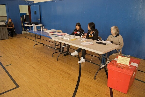 A voting center in San Francisco
