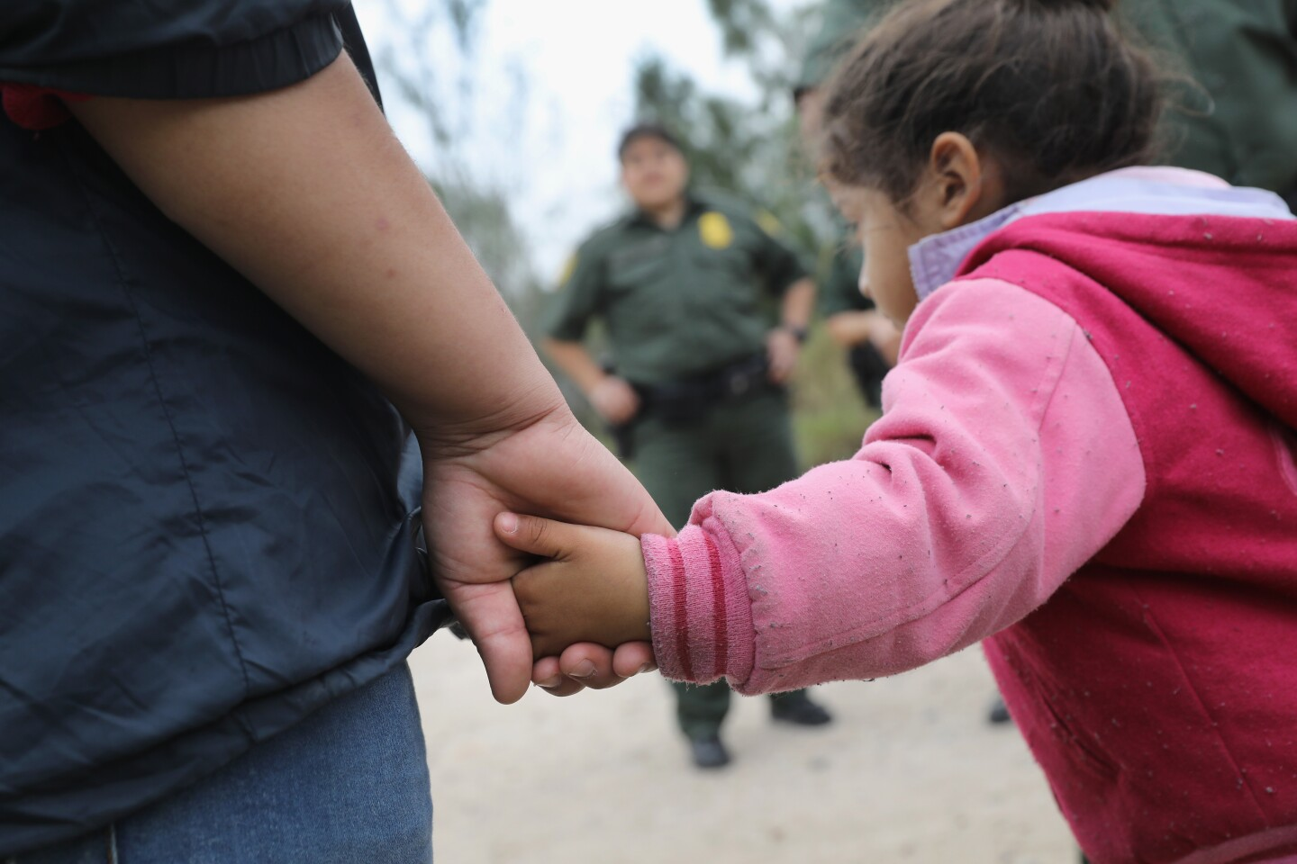 A close-up shot of a little girl holding an adult's hand.