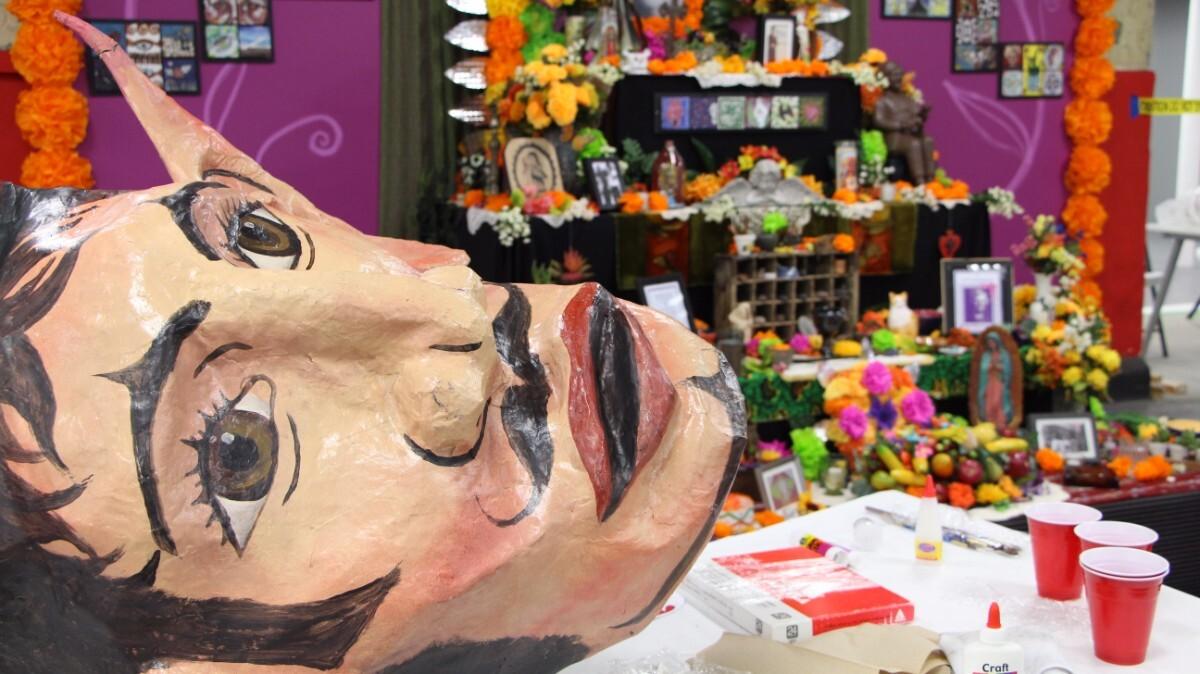 A paper mache sculpture and the altars to the dead are hallmarks of Dia de los Muertos celebrations | Jordan Riefe