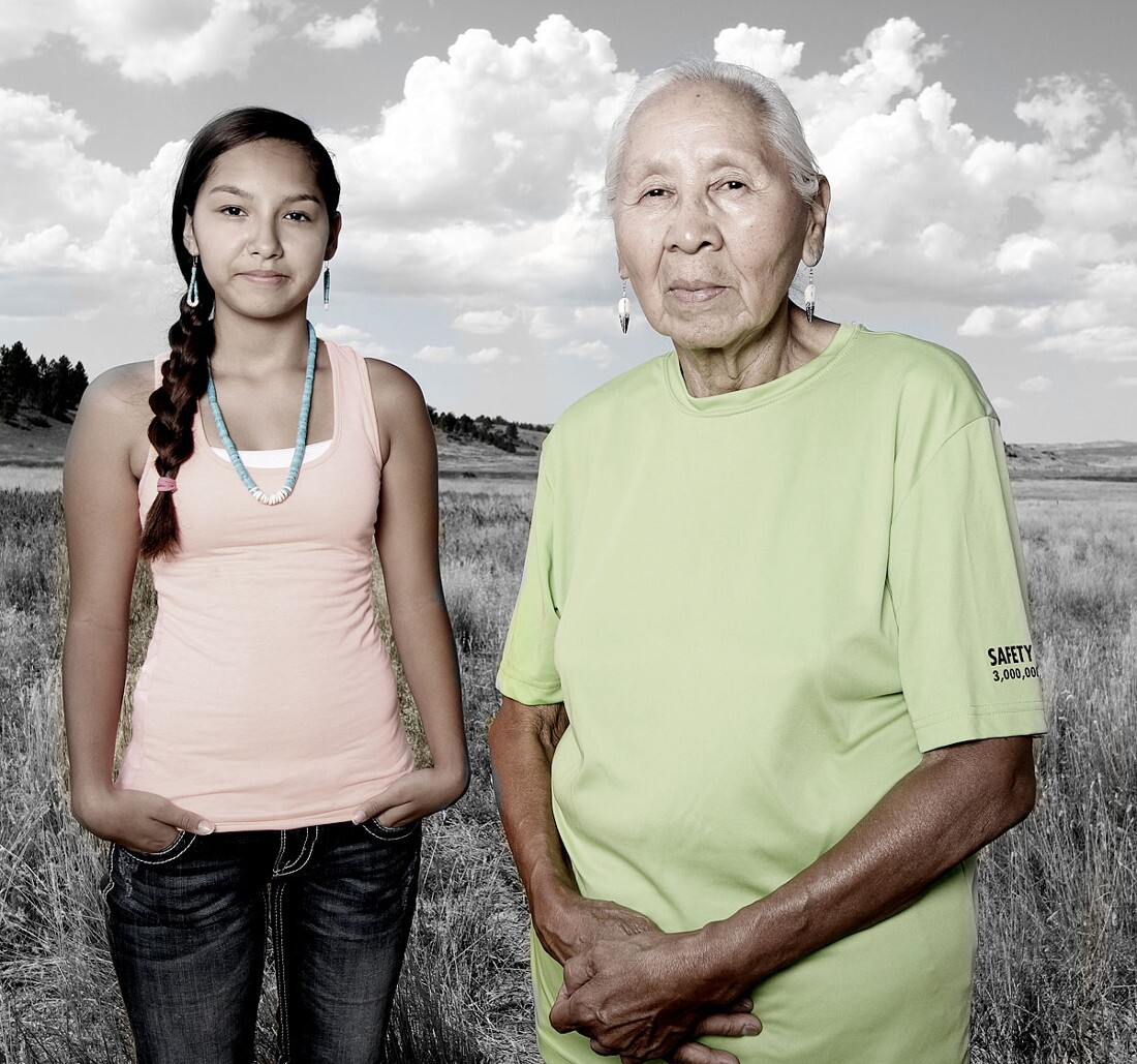 Sharlyce and Jennie Parker (Northern Cheyenne), 2014. Photographed by Matika Wilbur for Project 562.