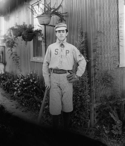 An unidentified Los Angeles baseballl player ca. 1900