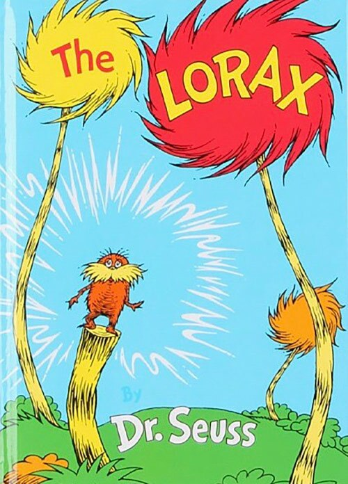 "Book cover of ""The Lorax"" written and illustrated by Dr. Seuss featuring an illustration of a small and fuzzy yellow creature with a moustache atop a fuzzy-looking field surrounded by colorful, fuzzy-looking trees. 
