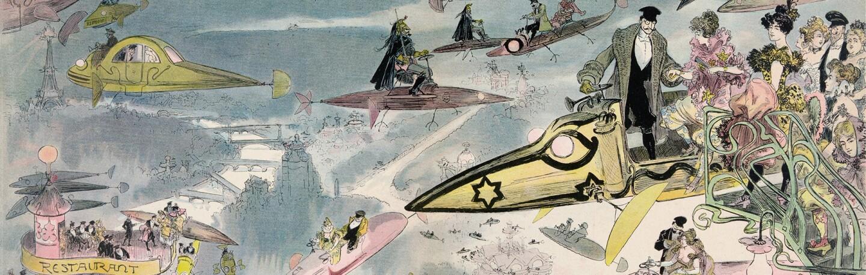 Detail from La Sortie de l'opéra en l'an 2000 | Artist: Albert Robida  (1848–1926)