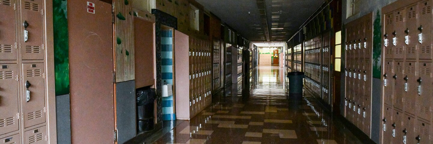Empty Hollywood High hallway on September 08, 2020 in Los Angeles, California. | Rodin Eckenroth/Getty Images