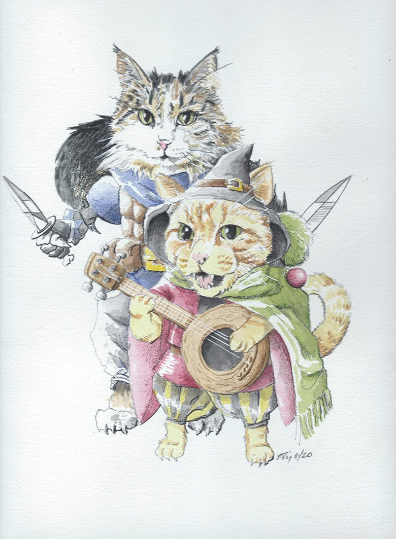 Artist/actor Breon Bliss artwork of two cats in costume | Courtesy of Breon Bliss