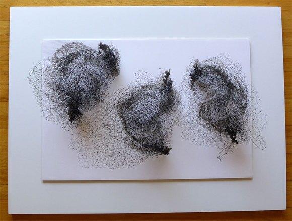 "Keiko Kasai, ""Shadow Tremor"" 2014, 40"" x 30"" Black Fabric, Sumi Ink on Paper"
