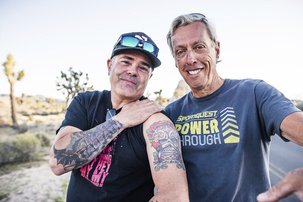 Climber Kurt Smith shows off his John Bachar tattoo with Dave Yerian (right), who with Bachar did the first ascent of the Bachar-Yerian | © John Mireles 2016
