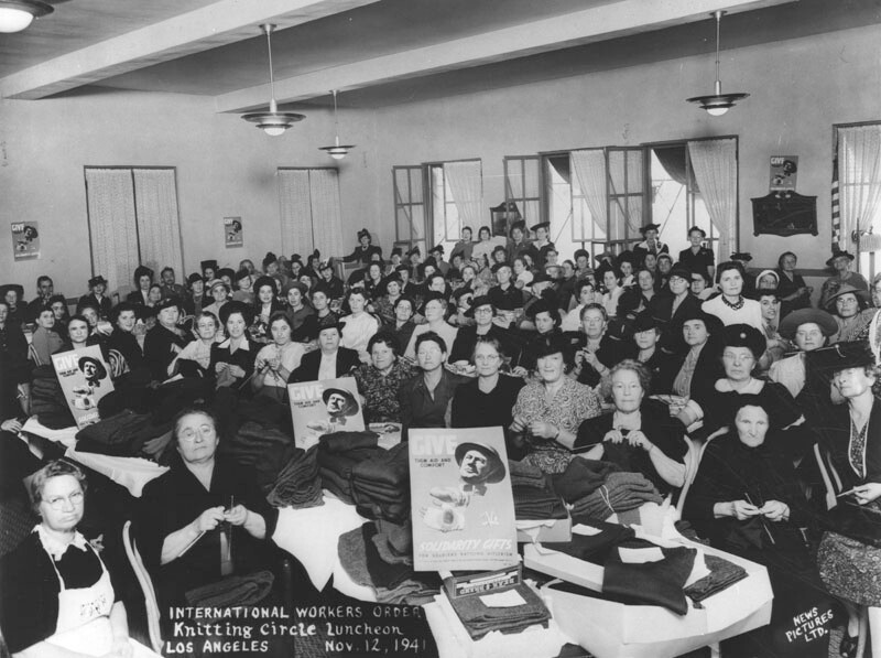 International Workers Order Knitting Circle, 1941. IWO was headquarterd in The Cooperative Center. | Courtesy of the Los Angeles Public Library