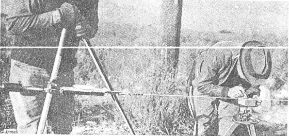 """Measuring the base line.   Source: """"A Geodetic Measurement of Unusually High Accuracy"""""""