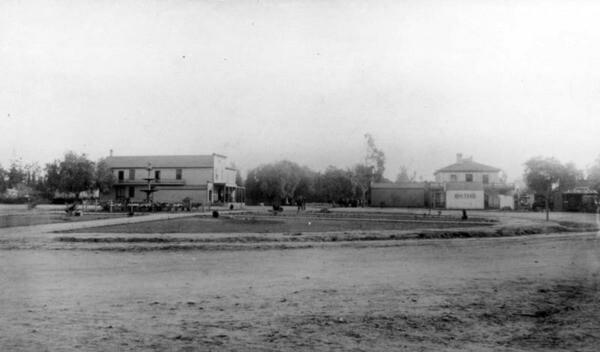 This is likely the oldest extant photograph of the Orange Plaza, taken in 1887. Courtesy of the Orange Public Library.