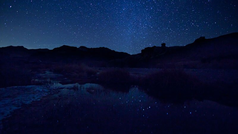 Night sky reflecting in the Amargosa River