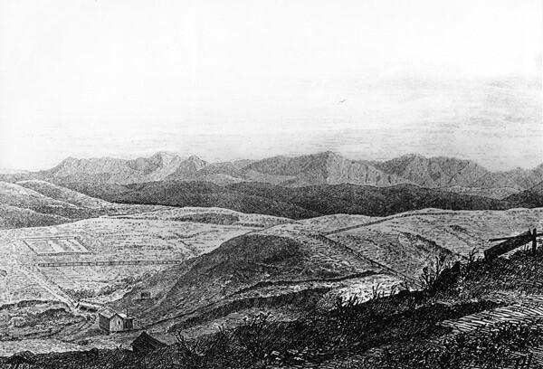 Drawing of Chavez Ravine as it appeared circa 1870. Courtesy of the Title Insurance and Trust / C.C. Pierce Photography Collection, USC Libraries.