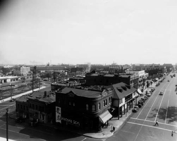 Bird's eye view of the Los Angeles and Marchessault Street intersection. The Dragon's Den, a Chinese restaurant, is in the Fook Wo Long Curio Company building on the corner.  | Courtesy of the Los Angeles Public Library