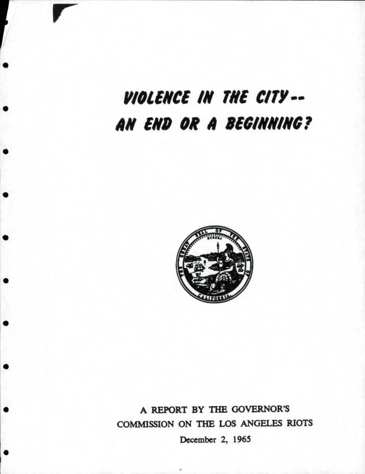 Violence in the City, cover, 1965. | Los Angeles Webster Commission records, 1931-1992, USC Digital Libraries