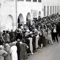 People stand in line at Central Casting
