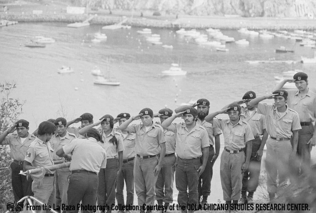 CSRC_LaRaza_B12F4C3_MM_012 Brown Berets on Catalina Island   Maria Marquez Sanchez, La Raza photograph collection. Courtesy of UCLA Chicano Studies Research Center