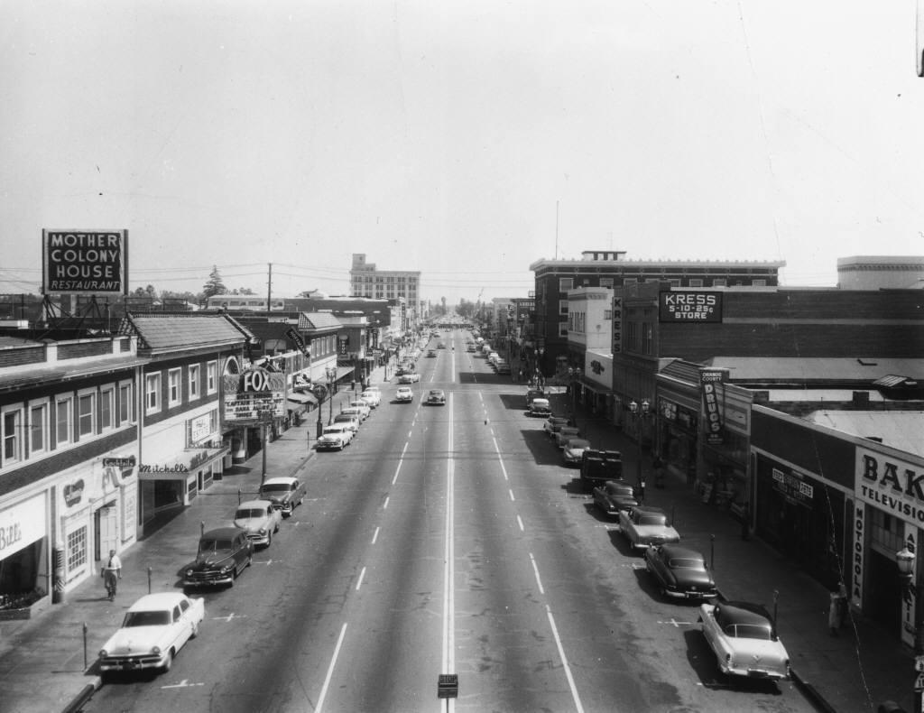 Anaheim's Center Street, pre-redevelopment, circa 1955 (P10373)