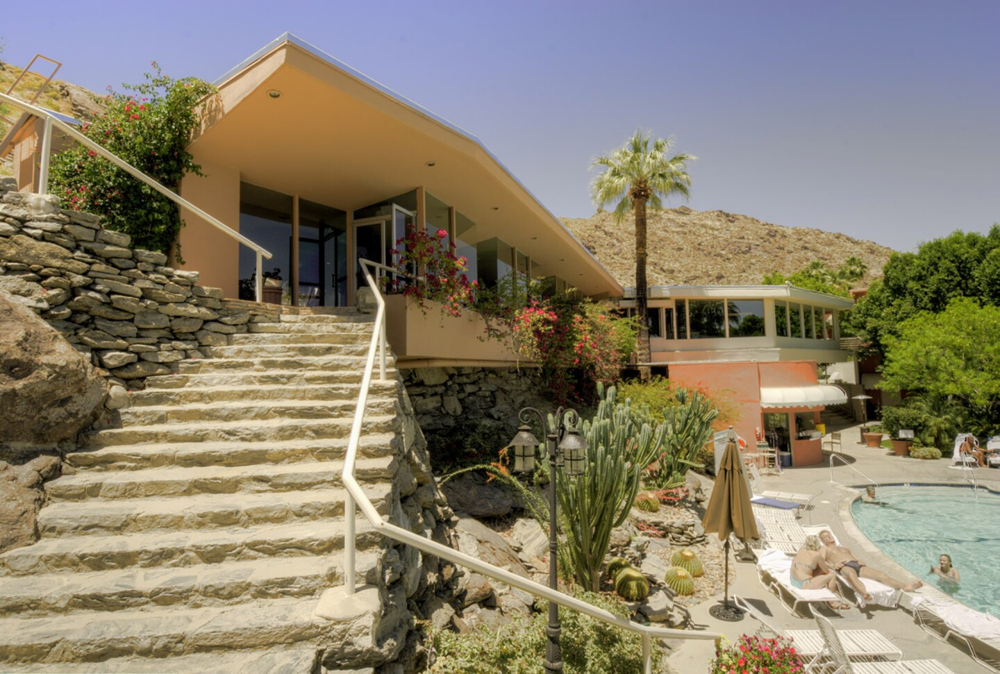 Tennis Club, exterior with staircase foreground, Palm Springs, CA, 2010 | David Horan for the Paul R. Williams Project at the Art Museum of the University of Memphis