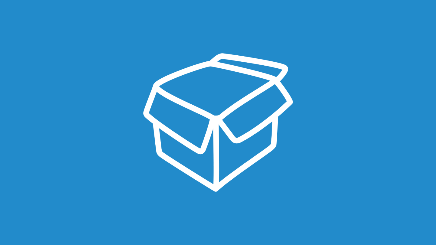 Illustration of a box on top of blue background.