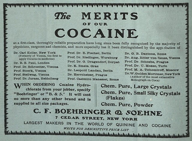 """The Merits of Our Cocaine,"" an advertisement published in Practical Druggist 8, 1907 