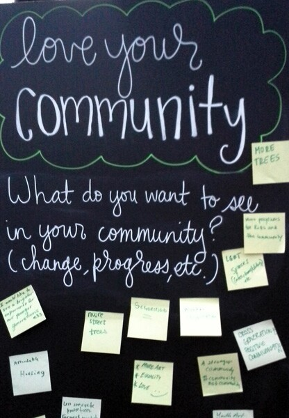 Love Your Community board with comments | Photo Vickie Vertiz