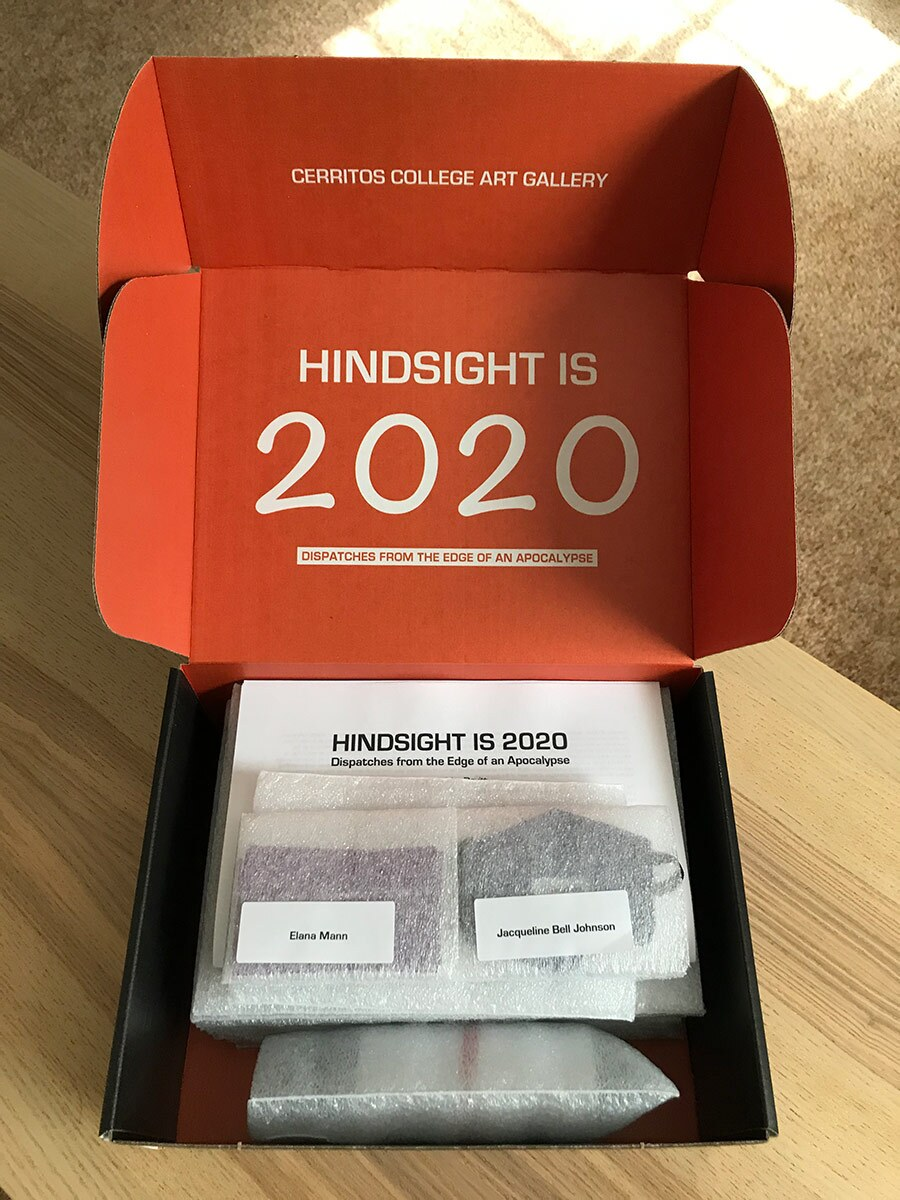 """Interior of """"Hindsight Is 2020: Dispatches from the Edge of an Apocalypse,"""" exhibition-in-a-box. 