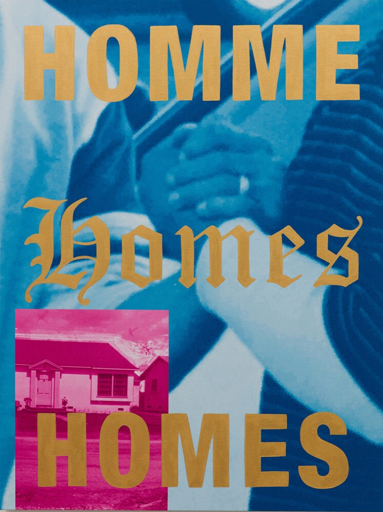 """""""HOMMES, HOMES, HOMES"""" (2019) by Gabriela Sanchez. Acrylic and archival pigment prints on canvas. 