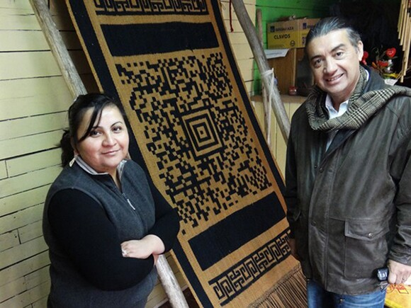 Guillermo Bert and his QR coded textiles. Courtesy of Artist.