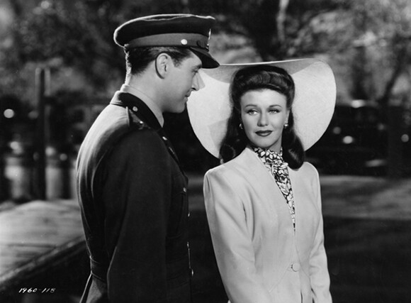 """Film still for """"The Major and the Minor"""" (1942), © Paramount Pictures. Courtesy of the Margaret Herrick Library, Academy of Motion Picture Arts and Sciences. Shown from left: Ray Milland, Ginger Rogers."""