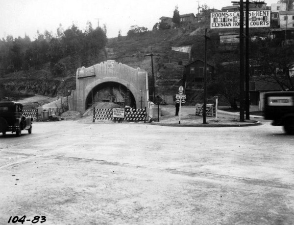 The southernmost and longest of the four tunnels, seen here at its northern portal, was built five years after the other three. It opened in 1936 and connected Bishops Road to Solano Avenue. Courtesy of the Automobile Club of Southern California Archives.
