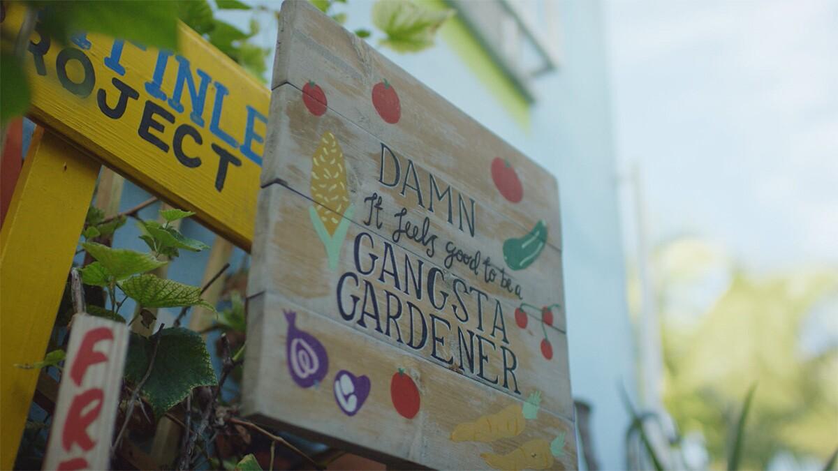 "Ron Finley's signage at his garden. | Still from ""Broken Bread"" Access"