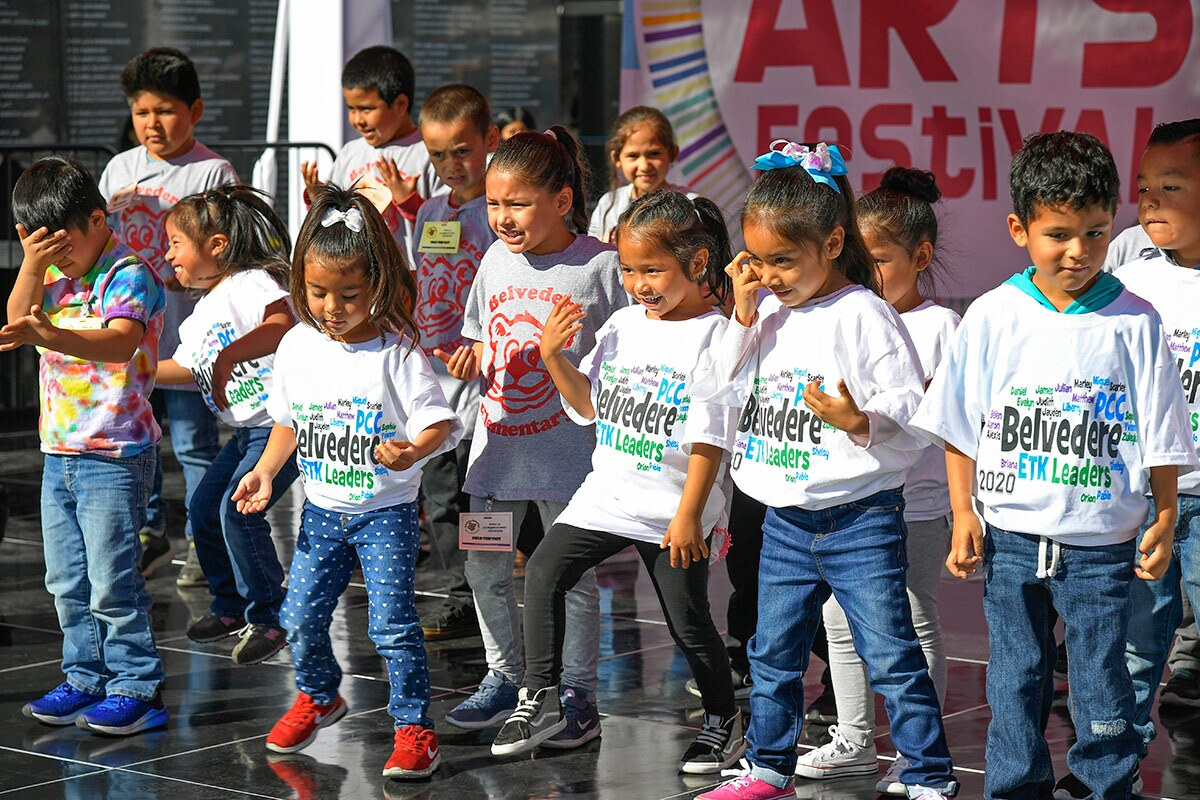Students from Belvedere Elementary School participate in The Music Center's Very Special Arts Festival, an annual event that celebrates the artistic achievements of students with all abilities. | Courtesy of The Music Center.