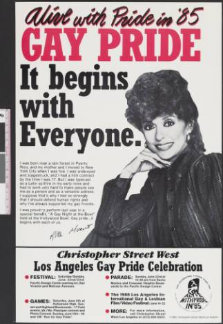 "Alive with pride in '85 poster featuring the words ""Gay pride; It begins with everyone,"" poster, 1985. 