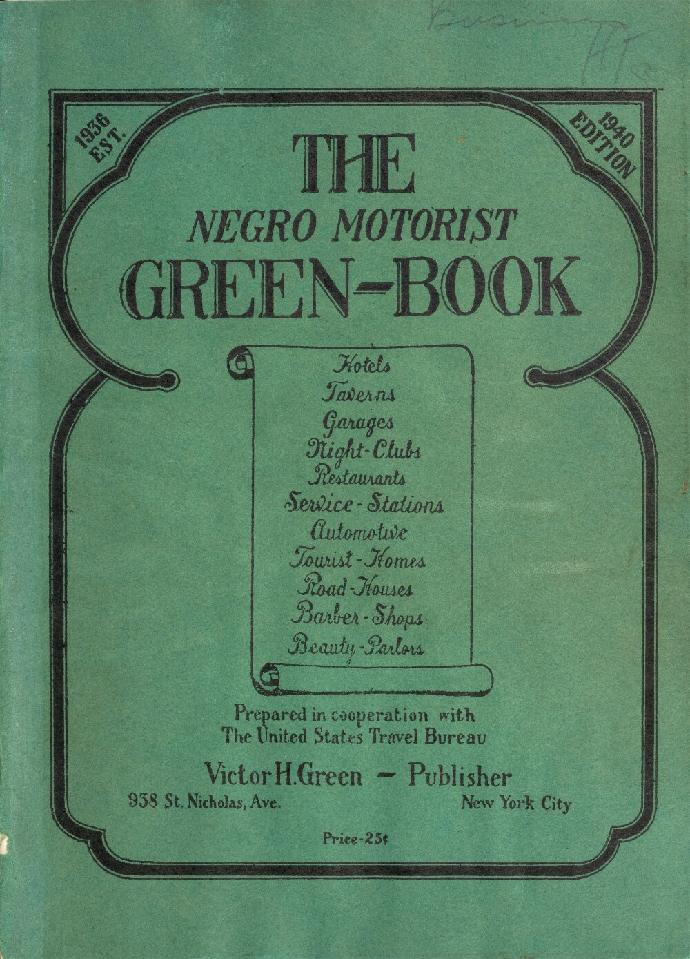 Cover of the 1940 edition of 'The Green Book'