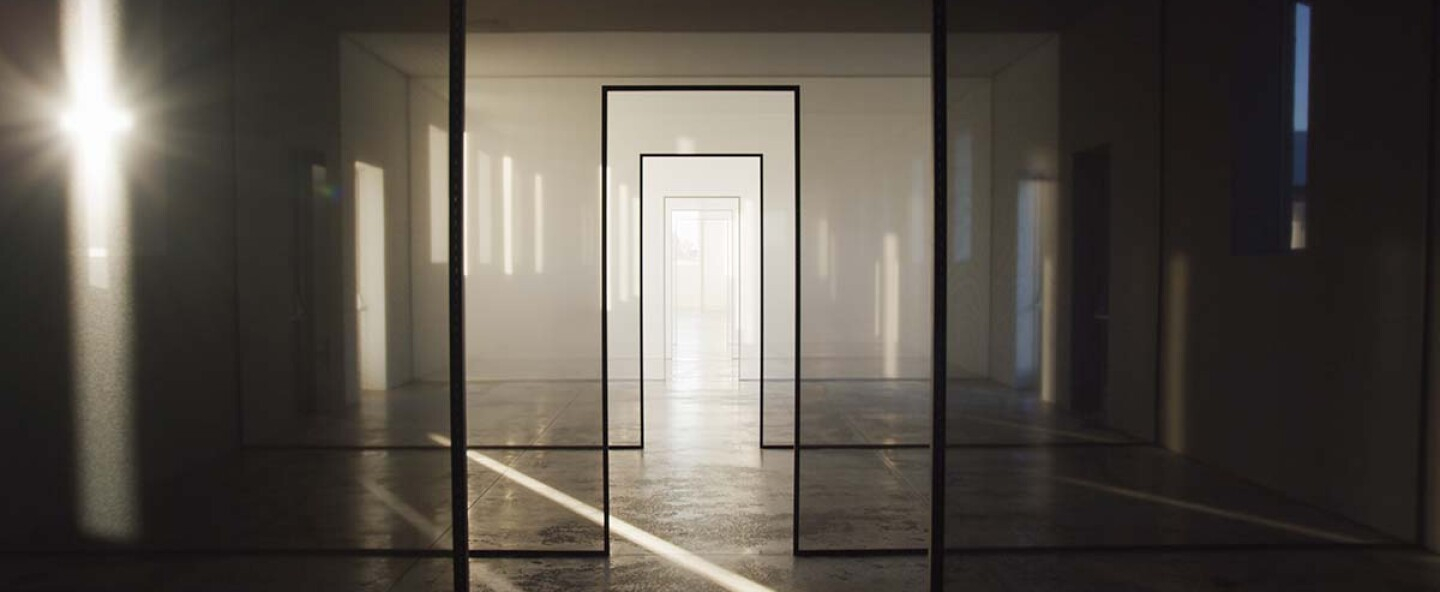 """A large-scale Light and Space artwork from Robert Irwin called """"untitled (dawn to dusk.)"""" 