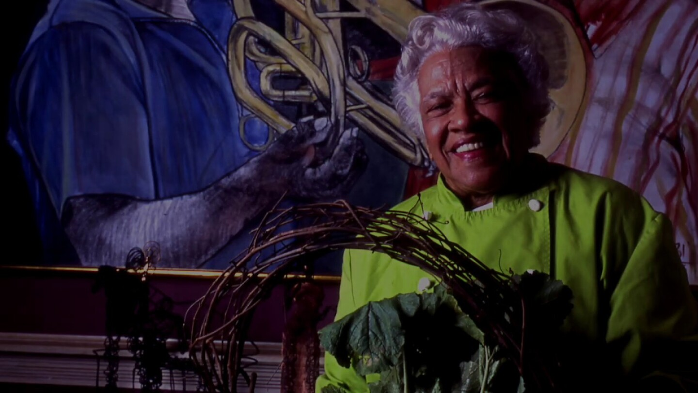 Chef Leah Chase smiles.