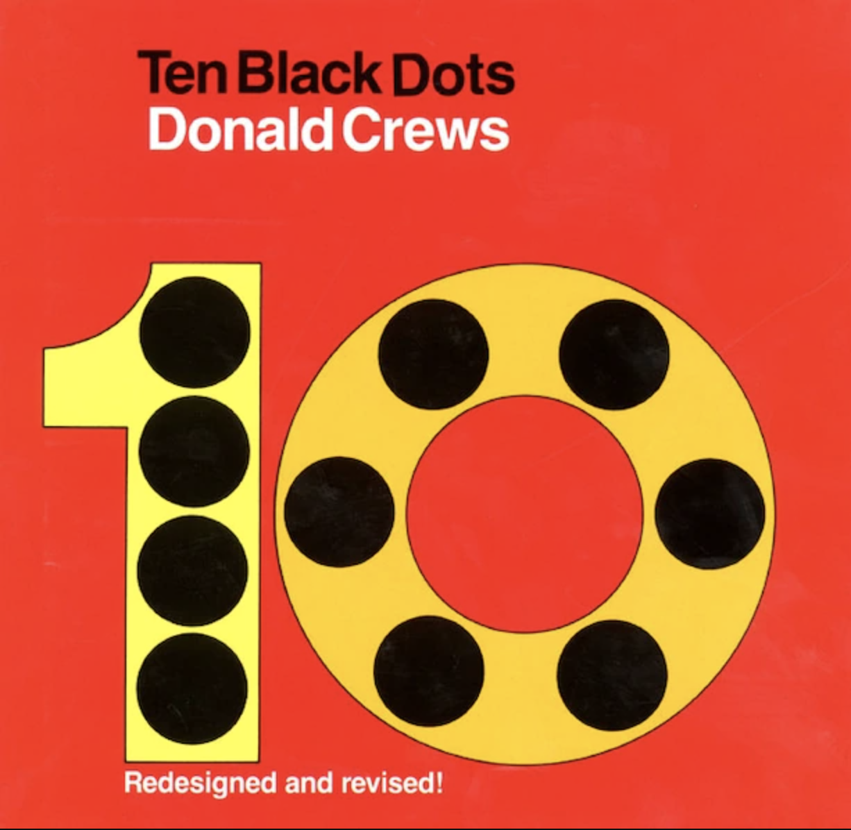 """Book cover of """"Ten Black Dots"""" by Donald Crews featuring the number 10 in yellow filled with black dots."""