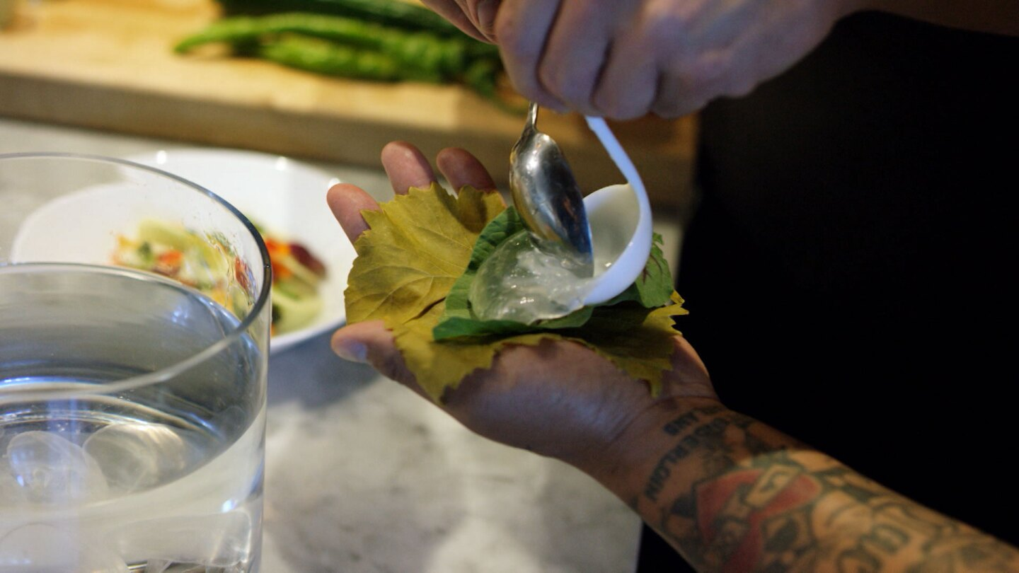 """Jellyfish dish by Hank and Bean held by Roy Choi 