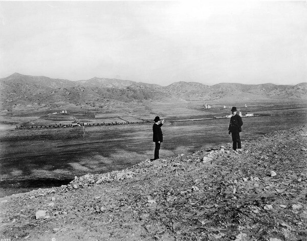 Another C.C. Pierce view from Olive Hill circa 1890, looking north toward Mt. Hollywood (on the left) and the future site of Los Feliz. Courtesy of the USC Libraries - California Historical Society Collection.
