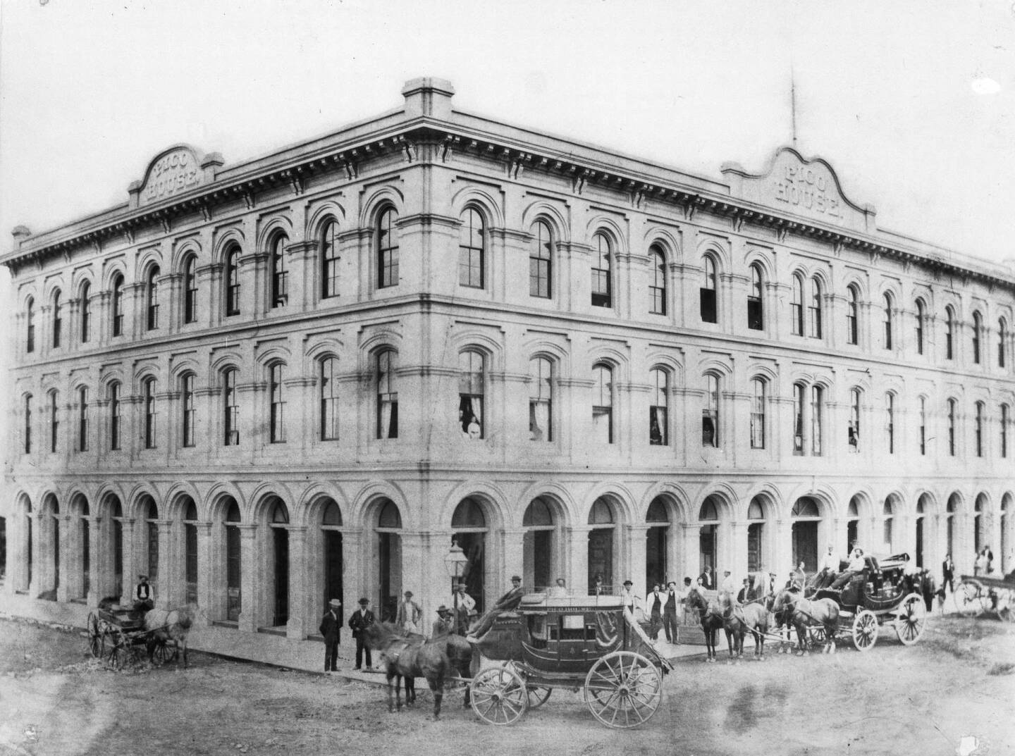 Exterior view of the Pico House at the Los Angeles Plaza, ca.1870-1875