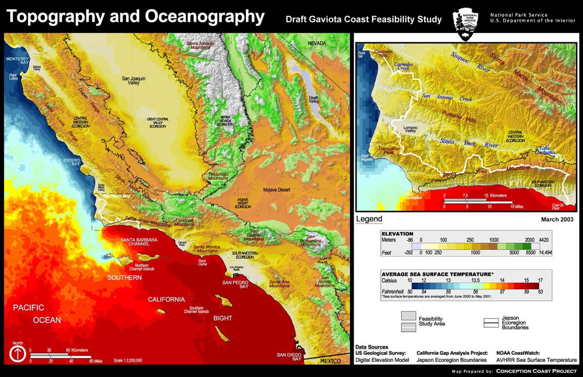 Map showing the topography and oceanography of Gaviota Coast. | Extracted from from the National Park Service's Gaviota Coast Feasibility Study, produced by the Pacific Great Basin Support Office of the National Park Service.