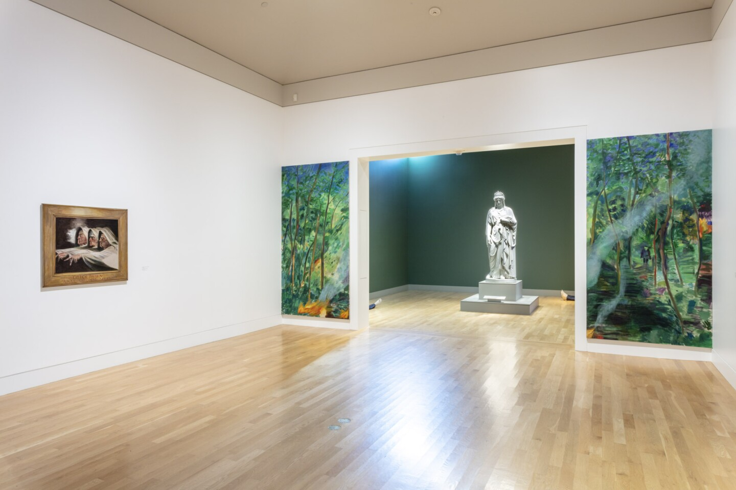 "An installation view of Jill Mulleady's work at ""Made in L.A. 2020: a version"" at The Huntington Library, Art Museum, and Botanical Gardens, San Marino. 