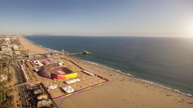 beach volleyball at santa monica beach