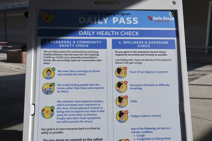 An example of the health screenings that LAUSD will ask families to complete.
