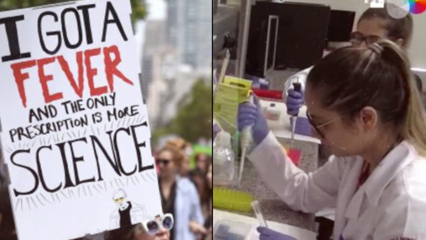Split image with one side of a lab worker and the other side of a person holding up a demonstration sign.